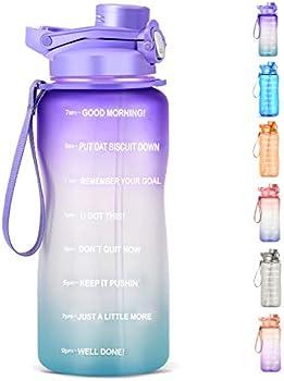 HydMotor Large 64oz/Half Gallon Water Bottle with Straw