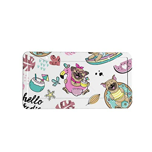 Stock Funny Dog Pug On Surfboard And Inflatable Flamingo Seamless Pattern On White Background Personalized car metal aluminum car label holder for women and men car decoration (31.3 cm x 16 cm)