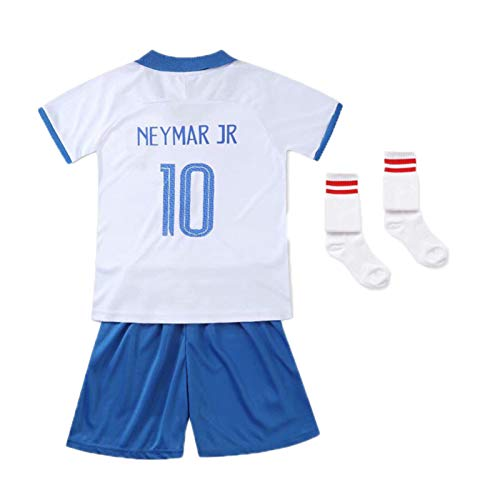 Trajes De Uniforme De Fútbol Niños Camiseta De #10 Neymar Brasil 1920 Local/Visitante, Camiseta De Fan, Chándales Deportivos De Manga Corta De Fútbol Retro White-28