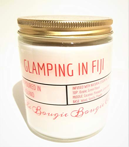 The Bougie Bougie Co | Glamping In Fiji | Clean Strong Scented Luxury Soy Blend Handmade Candle | 9oz Clear Glass Jar