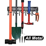 YueTong All Metal Garden Tool Organizer,Adjustable Garage Wall Organizers and Storage,Heavy Duty Wall Mount Holder with Hooks for Broom,Rake,Mop,Shovel.(1 Pack))