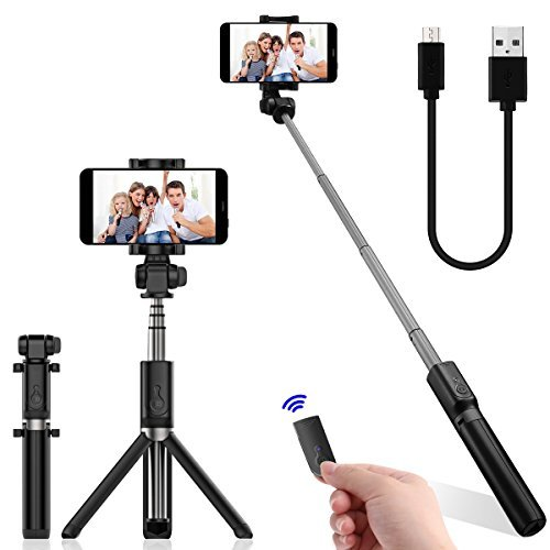 DATONG Selfie Stick Bluetooth Extendable Foldable Selfie Stick Tripod Monopod Built-in Wireless Remote Shutter for Iphone X 8 7 6 Plus Galaxy Note S8 Google LG Samsung Blackberry Huawei and More