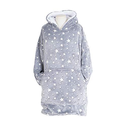 U&O Oversized Glow in Dark Wearable Sherpa Blanket Sweatshirt with Hood & Pocket and Sleeves Luminous Hoodie Blanket (Grey)