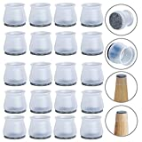 Upgrade Chair Leg Floor Protectors, 20 pcs Transparent Silicone Felt Bottom Chair Leg Covers, Furniture Feet Pads for Hardwood Floors, Stool Table Leg Protector Caps to Prevent Scratches Noise(Medium)