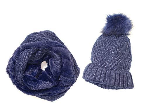 Novadis Set di berretto e sciarpa in pile, invernale, da donna e ragazza, cappello con pompon e collo circolare, in lana blu