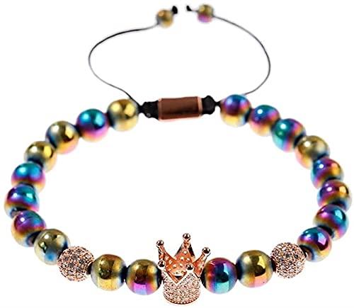 Pulsera de buena suerte Pulsera de piedra, mujer, 7 chakra, colorido, colorido, perlas semipreciosas, brazalete ajustable, afortunado, rosa, rosa, joyería de la corona de oro, la energía de la yoga Re