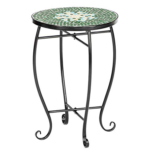 VINGLI Mosaic Accent Table, 14' Round Side Table,End Table, Plant Stand Decor for Patio Porch Beach Theme Balcony Back Deck Pool Indoor Outdoor Coffee, Metal Cobalt Glass Top Black Iron(Green Garden)