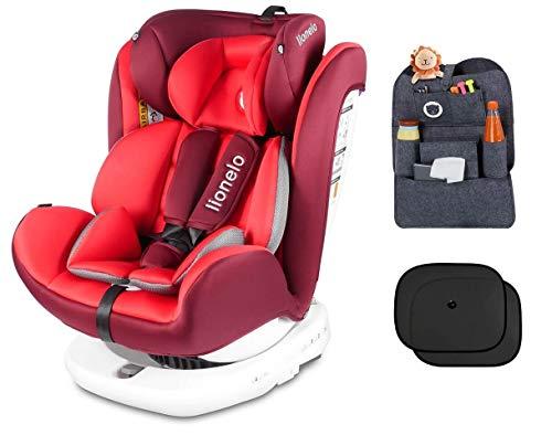Lionelo Bastiaan - Seggiolino auto per bambini dalla nascita, organizer per sedile posteriore e due parasole, gruppo 0+ 1 2 3 (0-36 kg), ISOFIX...