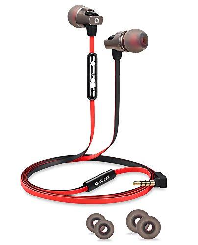AVANTEK audiomx in-Ear-Kopfhörer mit Mikrofon und Passive Noise Cancellation für iPhone, iPod, iPad, Android und Universal Smartphones, Rot und Schwarz, 3,5mm Klinke, em-12r