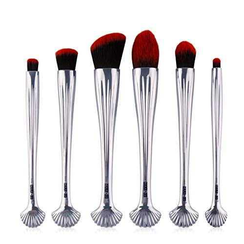 BERYLSHOP 6 Maquillage d'or local Brosses pinceau de maquillage Set plaqué Shell brosse de maquillage (Couleur : Silver handle black red hair)