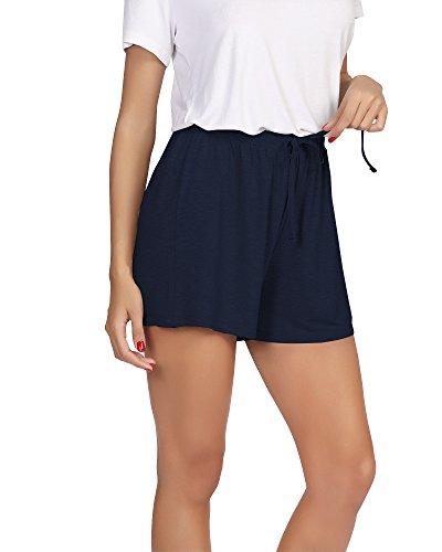 WiWi Bamboo Sleep Shorts for Women Soft Pajama Bottoms Casual Lounge Shorts Plus Size Boxers Sleepwear S-4X, Navy, Large