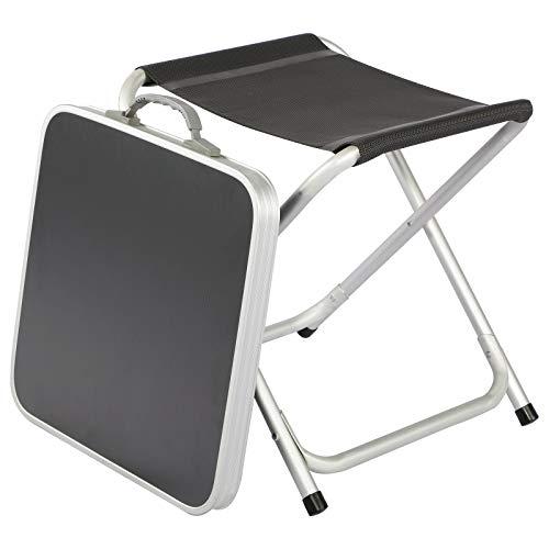 Timber Ridge Klapphocker mit Abnehmbarer MDF-Tischplatte aus Aluminium Klapptisch klein leicht tragbar Bestelltisch für Camping Garten Strand