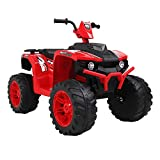 VALUE BOX Kids ATV 4 Wheeler Ride On Quad 12V Battery Powered Electric ATV Realistic Toy Car w/ 2 Speeds, Easy Button, Music, LED Lights and Horns (Black & Red)