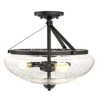 Tangkula Glass Ceiling Light Fixture Seeded Glass Shade Semi Flush Mount Ceiling Light w/ Bubble Glass Lampshade Modern 3-Light Close to Ceiling Light for Dining Room Bedroom Cafe Living Room