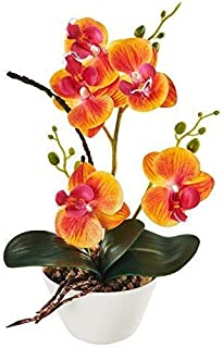 """IMIEE Silk Flowers with Pot 31cm in Height Artificial Orchid Phalaenopsis Arrangement Flower Bonsai with Vase for Room Table Centerpieces-H:12"""" (Orange)"""