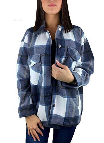 Worldclassca Damen Oversized KARO Hemd HEMDJACKE KARIERT HOLZFÄLLERHEMD LANGARMHEND MIT Brusttaschen HEMDBLUSE Bluse Shirt Designer Blogger NEU S-L 36-42 (M, Muster 6)