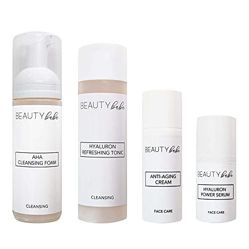 BEAUTY babe   Skin Care Routine Set   450ml   Hochkonzentrierte & vegane Inhaltsstoffe   Optimales Anti-Aging Pflegeset für strahlende Haut   Nachhaltige...