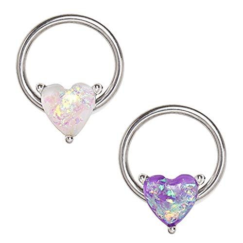 Amelia Fashion 16 Gauge Synthetic Opal Heart Captive Bead Ring 316L Surgical Steel (Steel & White)