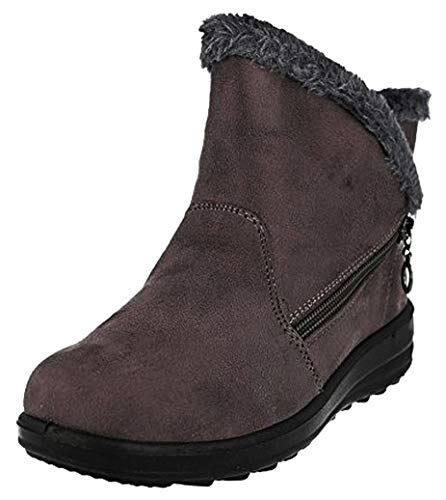 Cushion Walk Womens Side Zip Comfort Fit Winter Boots in Greyish Mauve - Olivia (Numeric_7)