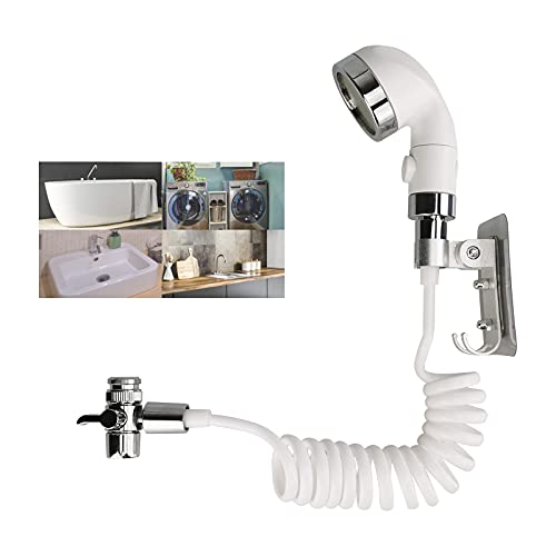 Bretoes Sink Faucet Sprayer Set with Shower Hose Quick Attachment on Kitchen Bathroom Faucet for Pet Shower Hair Washing Baby Bath (White)