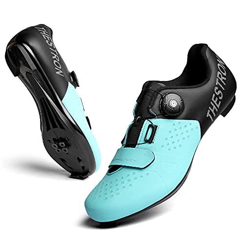 KUXUAN Zapatillas de Ciclismo Spin Shoestring con Cleat Peloton Shoe Compatible con SPD y Delta Lock Pedal Bike Shoes,Blue-44EU