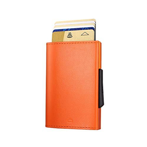 Ögon Smart Wallets - Cascade Slim Wallet - Cartera automática de Aluminio y Piel - Tarjetero RFID antirrobo - 8 Tarjetas y Billetes - Cuero Naranja/Aluminio Naranja