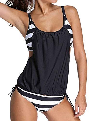 heekpek Frauen Tankini Zweiteilig Schwimmanzug Streifen Bademode Damen Strandmode Bikini Set Damen Bikini-Sets Tankini Oversize Große Größen Strand Bikini Streifen Push up