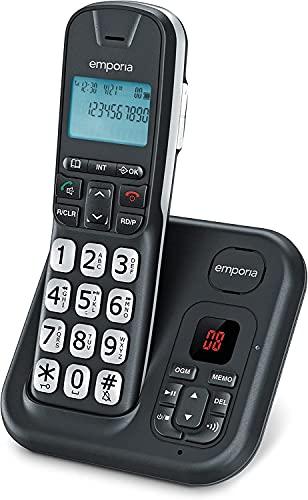 Emporia GD61AB, Telefono Cordless, Portatile DECT, Display illuminato, Segreteria telefonica, Numeri Grandi, Vivavoce, Compatibile con apparecchi acustici (HAC), Nero (Italia)