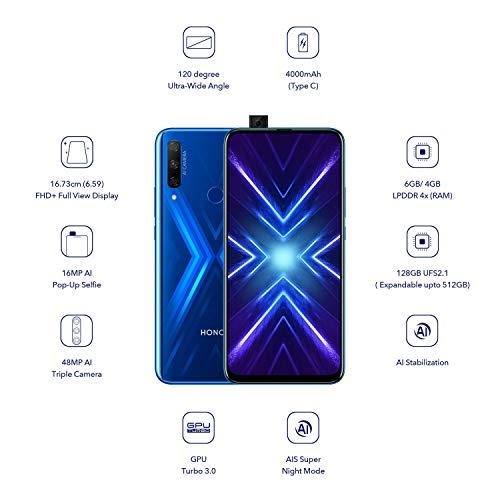 Honor 9X (Sapphire Blue, 6+128GB Storage) -Pop up Front Camera & 48MP Triple Rear Camera