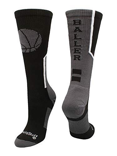 MadSportsStuff Baller Basketball Logo Crew Socks (Black/Graphite, Medium)