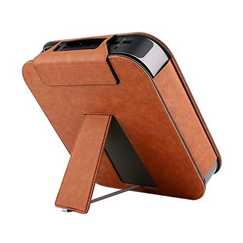 Hosoncovy - Funda de piel sintética con soporte de escritorio para Apple MAC Mini 2018 (marrón)
