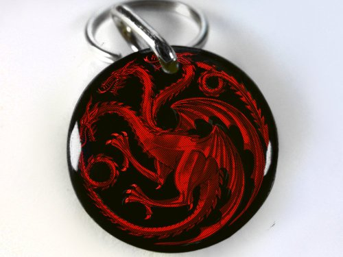 "Dog and Cat Customized Pet Id Game of Thrones Red Targaryen (Medium 1.25"")"