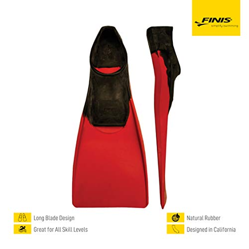 FINIS Long Floating Fins , Black/Red, XL (US Male 9-11 / US Female 10-12)