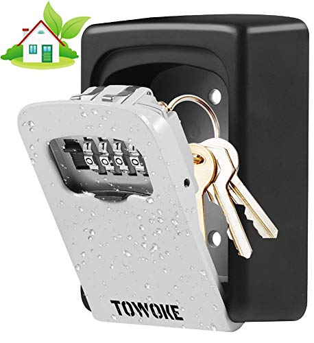 Key Lock Box Wall Mount - TOWOKE Waterproof Combination Key Safe Box for Outside, Zinc Alloy Key Storage Box with Resettable Code for House Spare...