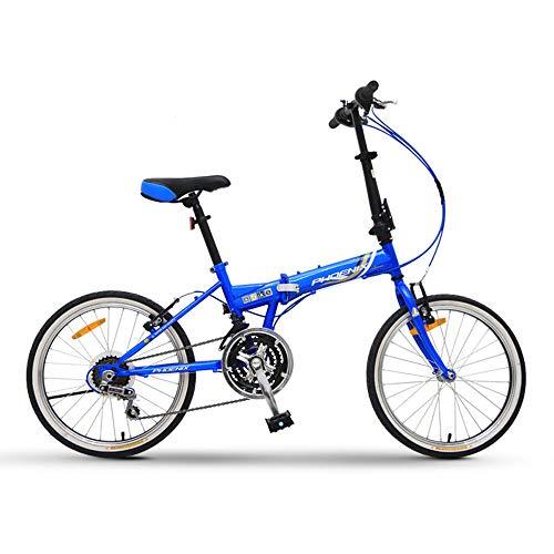 CCTYCC Adult Folding Bike, robust und schnell faltbar, mit Pu Comfortable Cushion 20-Zoll-Rädern Fahrrad, für Erwachsene männlich und weiblich/blau