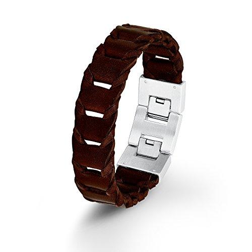 s. Oliver Herren-Armband Lederarmband Edelstahl Leder 22 cm - 540537