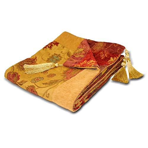 Riva Paoletti Zürich / Th2 / Gld Zürich Wurf - Gold Gelb - Dekorative Blumen Jacquard-Entwurf - Quasten - Schwergewicht - 100prozent Polyester - 150 X 180 cm (59