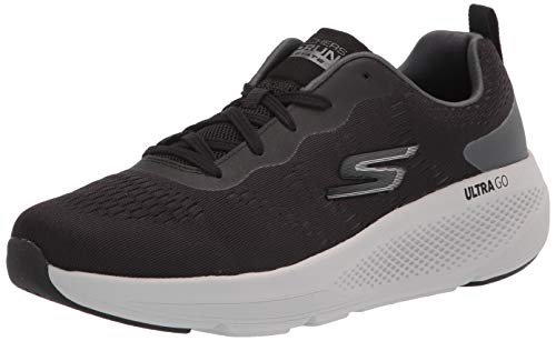 Skechers mens Gorun Elevate - Lace Up Performance Athletic & Walking Running Shoe, Black/Grey, 12.5 US