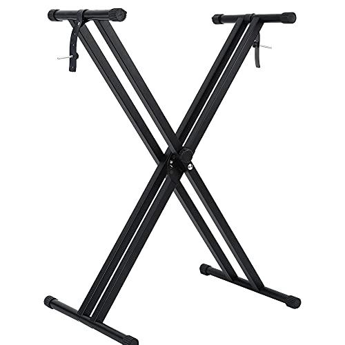 キーボードスタンド X型 電子ピアノ スタンド ピアノ台 折りたたみ 6段階高さ46~96cmに調整可能 54/61/73/76/88鍵 ボード適用 ピアノスタンドKeyboard Stand 組立不要