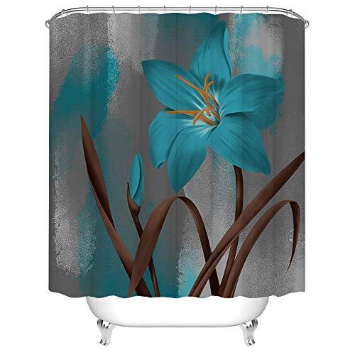 Lily Duschvorhang-Set, blaugrüne Blume mit braunen Blättern, Badvorhang, Ölgemälde, Blumendekoration, mit Haken, 183 x 183 cm, Grau