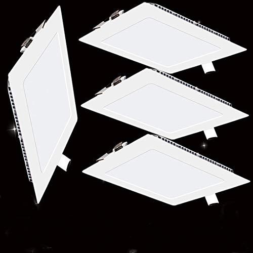 4er-Pack LED Panel Licht 18W Quadratisch Ultra Slim Flat Einbauleuchte 4000K Neutrales Licht Innenbeleuchtung für Zuhause Wohnzimmer Schlafzimmer Badezimmer Büro Flur Flureinbauleuchte