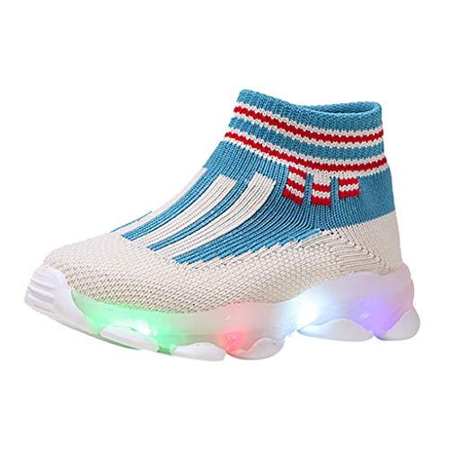 catmoew Socken Schuhe Kinder Sportschuhe Gestreiftes Mesh Fliegende Webart Belüftung Led leuchtende Laufschuhe Kinder Sneaker Socken Sport Sneakers Lässige Schuhe kaufen