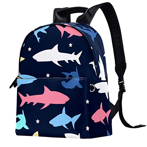 Travel,Hiking Backpack Laptop Backpack, Colorful Shark Pattern Print Casual Large Capacity School Bag for Men Women for Work Office College Business Travel