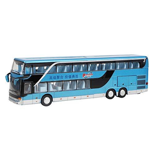 Zerodis- Juguete Modelo de autobús de Dos Pisos de aleación, eléctrico 1:50 Pull Back Cars Juguetes Vehículos de construcción Modelo de Coche con música Ligera para niños(Azul)
