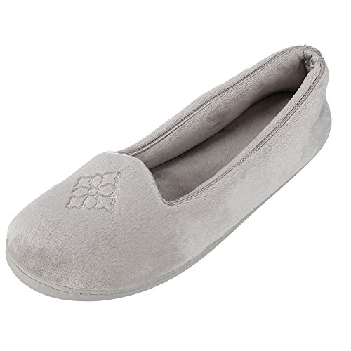 Dearfoams Women's Rebecca Microfiber Velour Closed Back Slipper, Pewter, Large