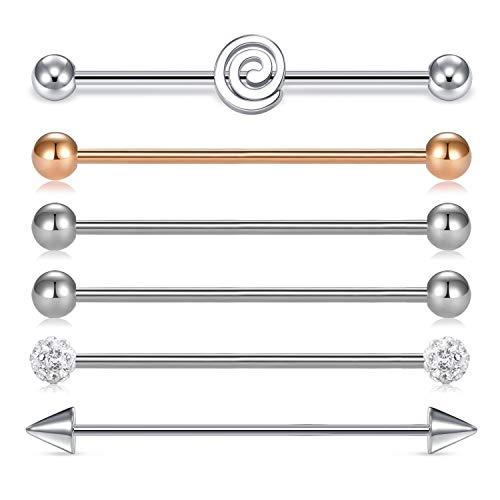 AVYRING 16G Pendientes de Cartílago de Acero Inoxidable Barbell Longitud 38mm Lengua Pezón Anillos Industrial Bar Body Piercing Joyería 6 Piezas