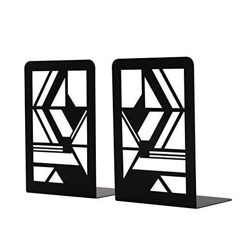 Book Ends Geometric Design Decorative Bookends for Shelves NonSkip Book Ends for Office Metal Bookends for Heavy Books Black 1 Pair