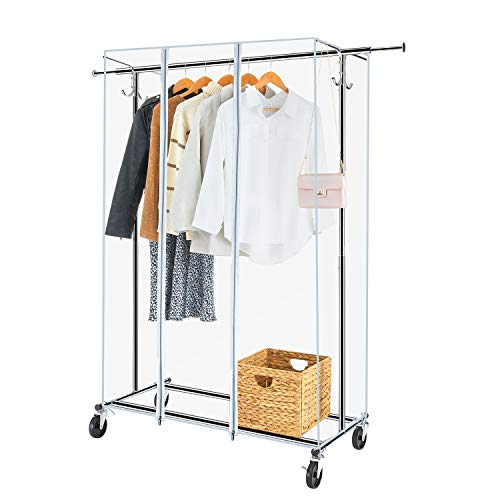 Greenstell Clothes Rack with Cover Adjustable Garment Rack with Wheels Heavy Duty Clothing Rack with Extendable Hanging Rail and Two Hooks Commercial Grade Rolling Clothing Coat Rack 67x66x21 in