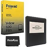 Polaroid Duochrome - Película para 600 unidades, color negro y amarillo, incluye álbum negro y gamuza