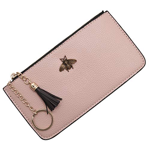AnnabelZ Women Phone Purse Change Wallet Long Coin Pouch Card Holder Clutch with Key Chain Ring Tassel Zip (Pink)